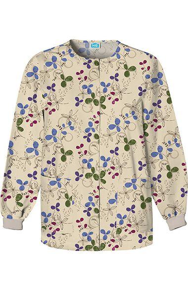 Women's Crew Neck Floral Print Jacket, , large
