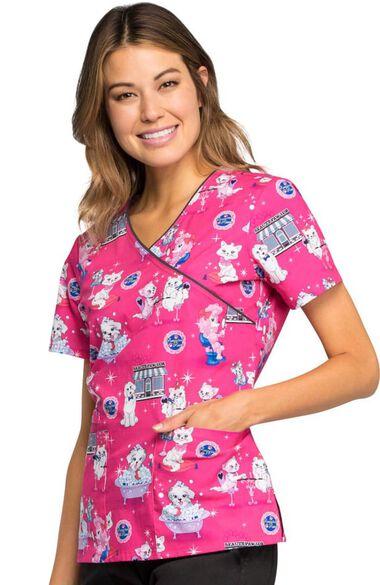 Clearance Women's Mock Wrap Dog Print Scrub Top, , large