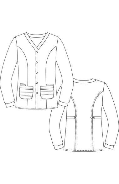 Women's Button Front Cardigan Warm Up Scrub Jacket, , large