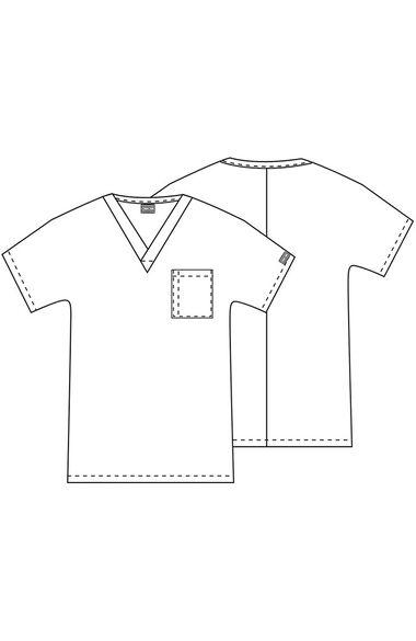 Unisex V-Neck 1-Pocket Solid Scrub Top, , large
