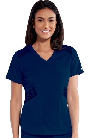 iMPACT by Grey's Anatomy Women's Moto Inspired Solid Scrub Top, , large