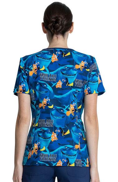 Women's Fish Are Friends Print Scrub Top, , large