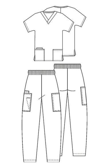 Women's V-Neck Solid Scrub Top & Elastic Waistband Cargo Scrub, , large