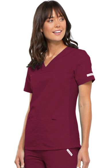 Clearance Women's Pro V-Neck Solid Scrub Top, , large