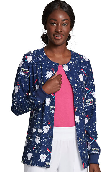 Women's Snap Front Flossed In Space Print Scrub Jacket, , large