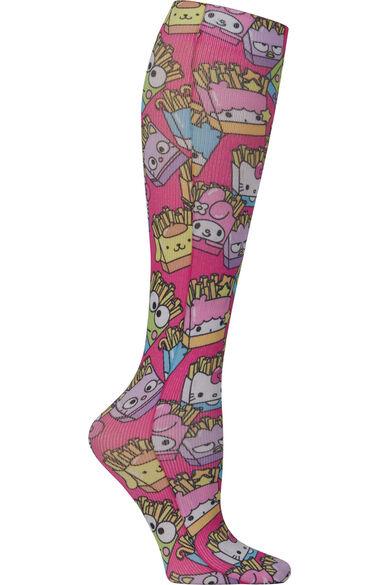 Women's Knee High 8-15 Mmhg Friendship Fries Print Compression Sock, , large