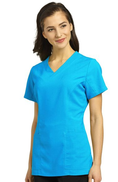 Clearance Women's V-Neck Princess Seam Scrub Top, , large
