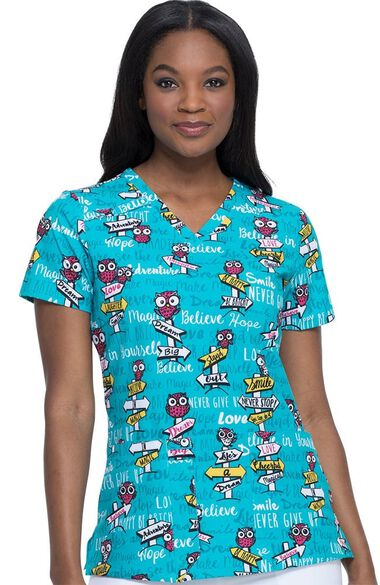 Clearance Women's V-Neck It Was Owl A Dream Print Scrub Top, , large