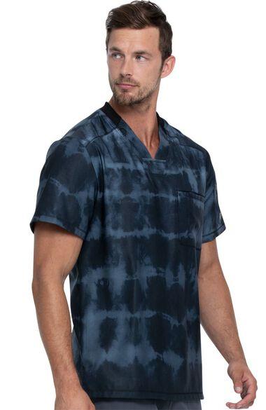 Clearance Men's Tie Dye Stripes Pewter Print Scrub Top, , large