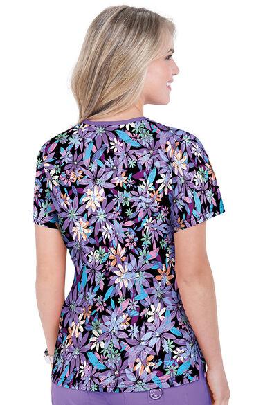 Women's Lola Summer Blooms Print Scrub Top, , large