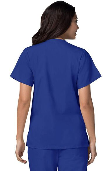 Women's Double Patch Pocket Snap Front Solid Scrub Top, , large