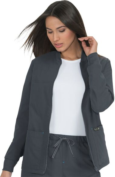 Unisex Hayden Zip Front Solid Scrub Jacket, , large