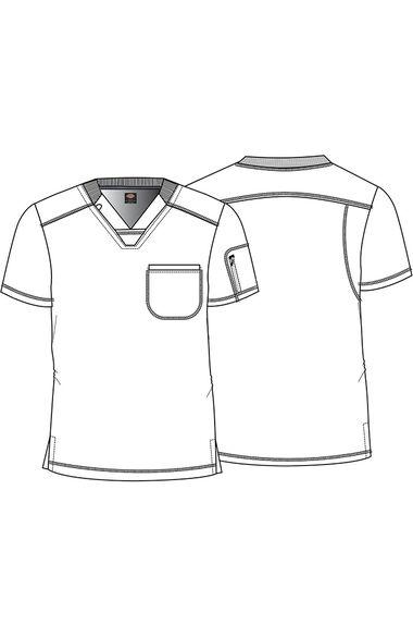 Men's Line Up Print Scrub Top, , large
