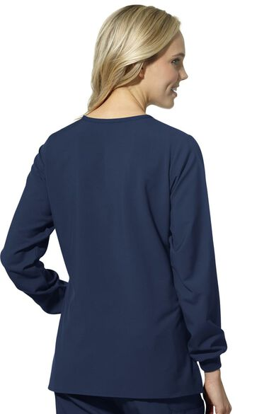 Women's Crew Neck Snap Front Solid Scrub Jacket, , large