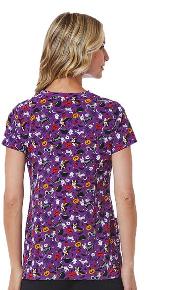 Clearance Women's V-Neck Costume Party Print Scrub Top, , large