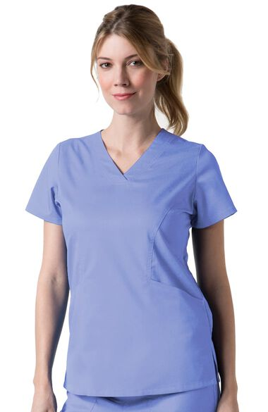 Clearance Women's COOLMAX Sporty V-Neck Solid Scrub Top, , large