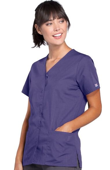 Women's Snap Front 2-Pocket Solid Scrub Top, , large