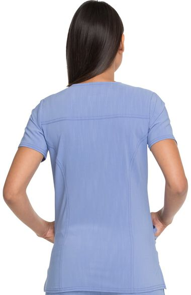 Clearance Women's V-Neck Patch Pocket Solid Scrub Top, , large