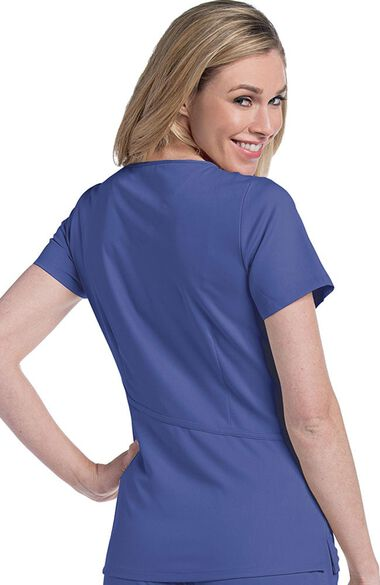 Women's Sophie Crossover Solid Scrub Top, , large
