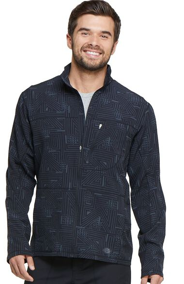 Clearance Men's Zip Front Abstract Print Warm-Up Scrub Jacket, , large