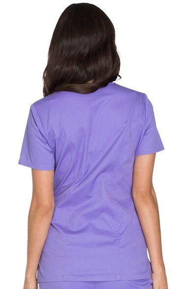 Clearance Women's Mock Wrap Princess Seam Solid Scrub Top, , large