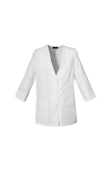 Women's 3/4 Sleeve Solid Scrub Jacket, , large