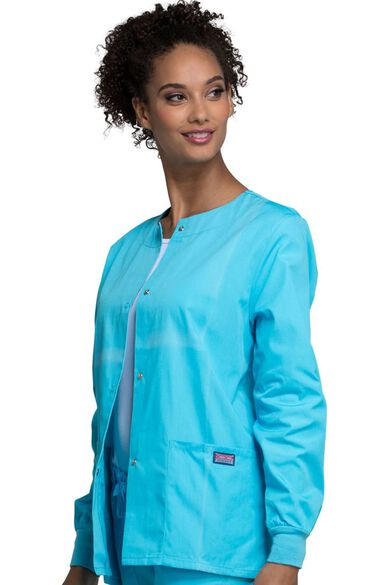 Women's Jewel Neck Warmup Solid Scrub Jacket, , large