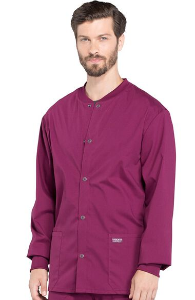 Men's Snap Front Warm-Up Solid Scrub Jacket, , large