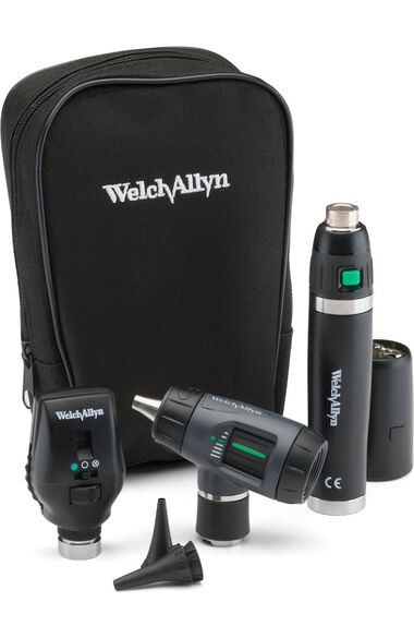 3.5 V Halogen HPX Coaxial Ophthalmoscope, MacroView Otoscope, Power Handle & Case Diagnostic Set 97201-MS, , large
