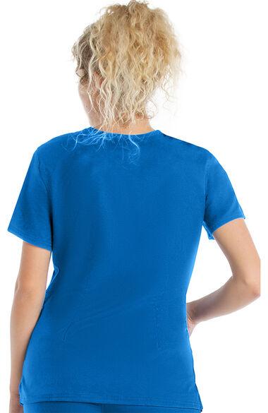 Women's Modern V-Neck Tunic Solid Scrub Top, , large