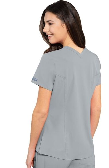 Women's Mirror V-Neck Solid Scrub Top, , large