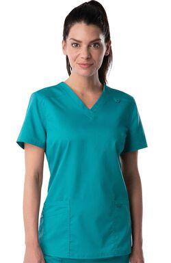 Women's Modern V-Neck Tunic Solid Scrub Top