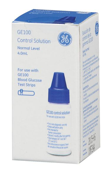 GE Blood Glucose Test Strips Control Calibration Solution, , large