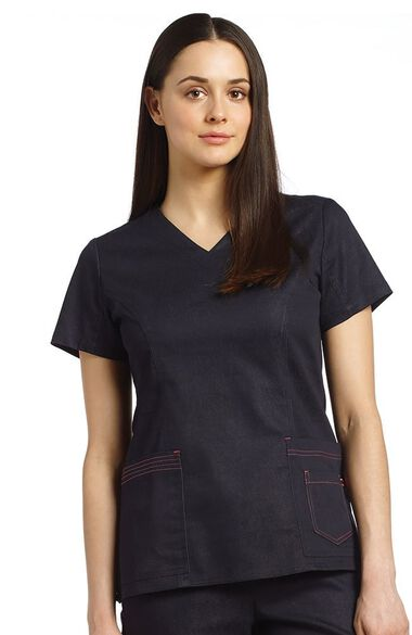 Women's V-Neck Layered Pocket Denim Scrub Top, , large
