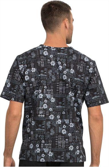 Clearance Men's Its Tiki Time Print Scrub Top, , large