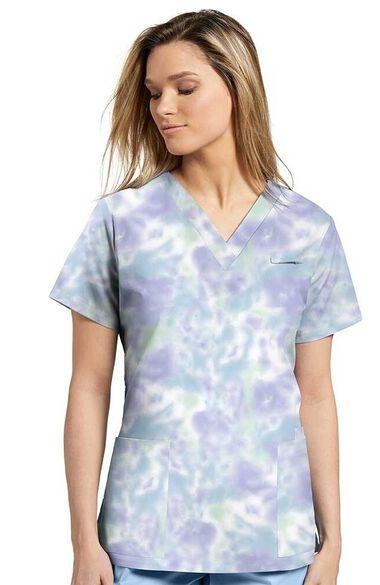 Women's Blue Tie Dye Print Scrub Top, , large
