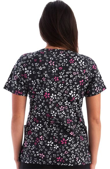 Women's Scattered Flowers Print Scrub Top, , large