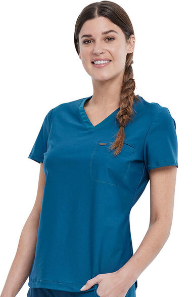 Women's Tuckable V-Neck Solid Scrub Top, , large