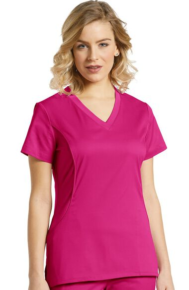 Women's V-Neck Stretch Side Solid Scrub Top, , large