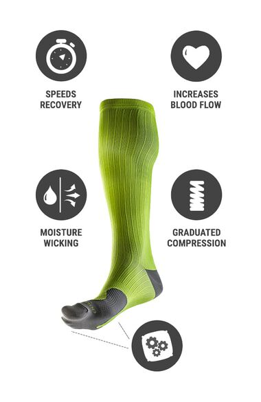 Clearance Unisex Marathon Graduated 20-30 mmHg Colorado Peaks Print Compression Sock, , large