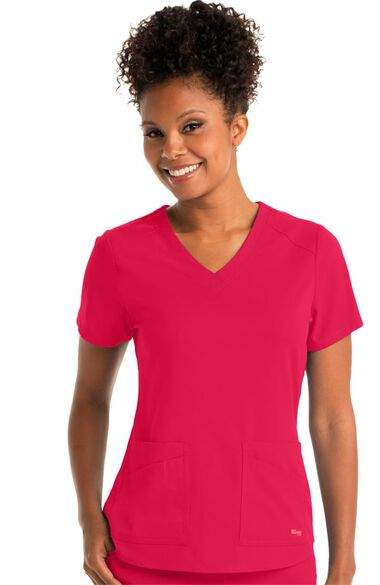 Spandex Stretch by Grey's Anatomy Women's V-Neck Solid Scrub Top, , large
