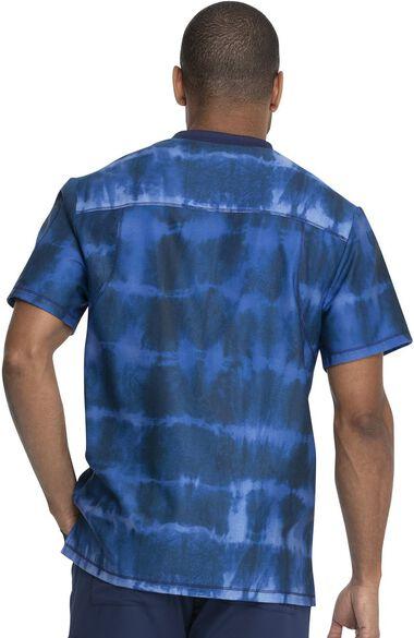 Clearance Men's Tie Dye Stripes Navy Print Scrub Top, , large