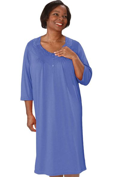 Silvert's Women's Open Back Diamond Neck Solid Lace Nightgown, , large