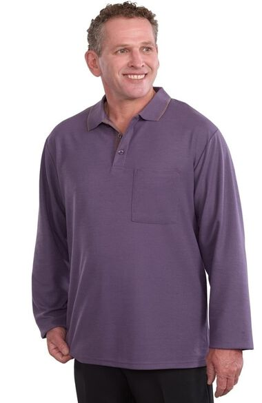 Silvert's Men's Open Back Long Sleeve Solid Polo, , large