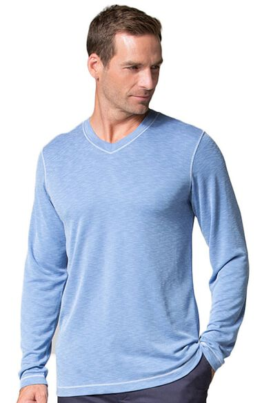 Clearance Men's Modal Knit Curved V-Neck Underscrub Top, , large