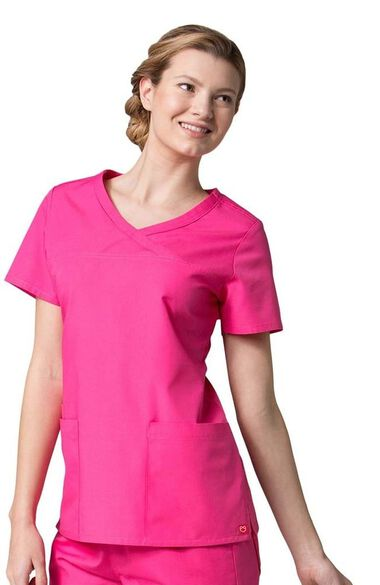 Women's Curved Mock Wrap Solid Scrub Top, , large