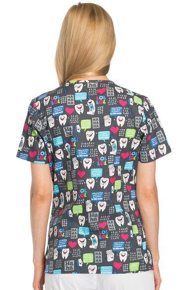 Clearance Women's V-Neck Dental Print Scrub Top, , large