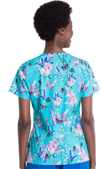 Women's Jungle Flutter Print Scrub Top, , large