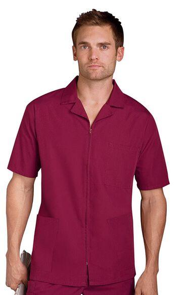 Men's Zip Front Solid Scrub Jacket, , large
