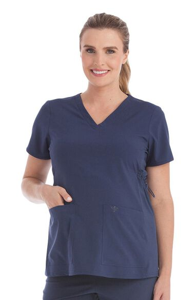 Women's Maternity 4 Way Stretch V-Neck Solid Scrub Top, , large